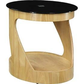 Jual Florence JF304 OB Oak Black Glass Oval Lamp Table