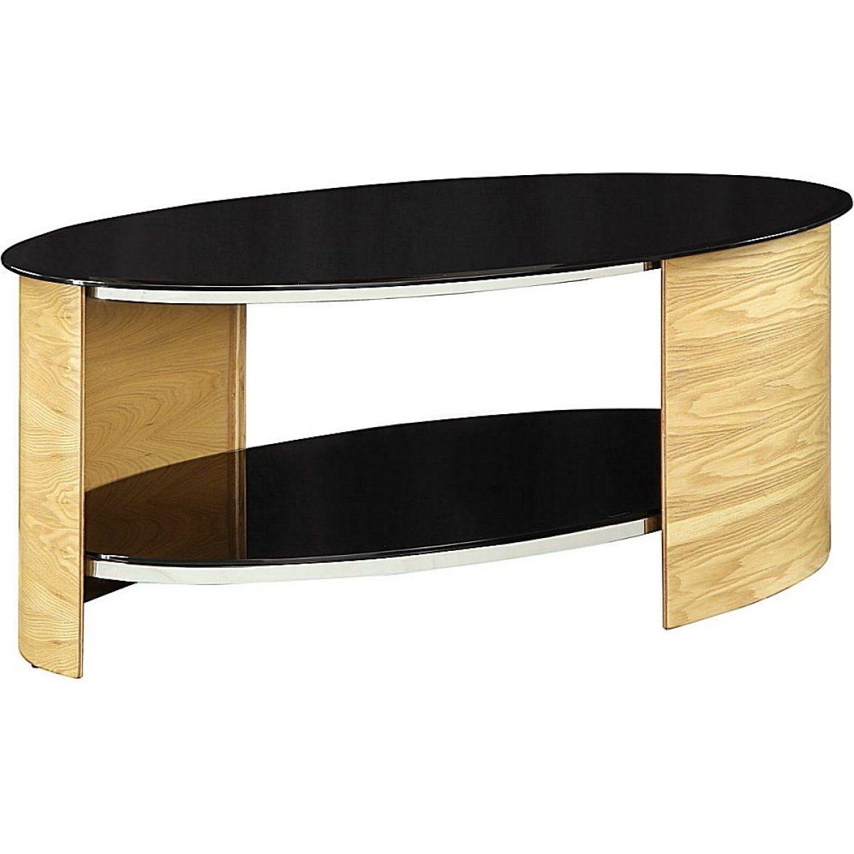 Jual San Marino Jf301 Ob Curve Oak And Black Glass Oval Coffee Table