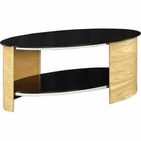 Jual San Marino JF301 OB Curve Oak and Black Glass Oval Coffee Table
