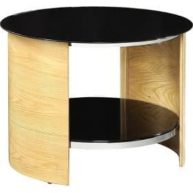 Jual San Marino JF303 OB Curve Oak and Black Round Lamp Table