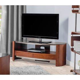 Jual Melbourne JF310 TV Stand Walnut Chrome Trim Black Glass
