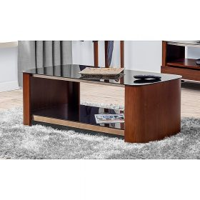 Jual Melbourne JF311 Coffee Table Walnut Chrome Trim Black Glass