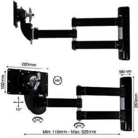 B-Tech BT7515 Medium LCD Double Arm Wall Mount Piano Black