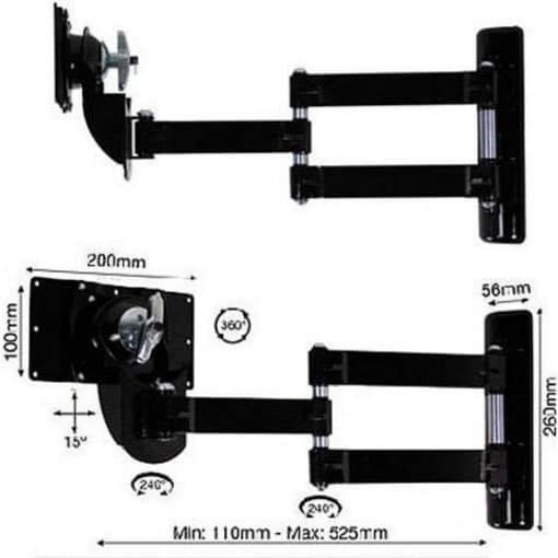 B-Tech BT7515 Medium LCD Double Arm Wall Mount Piano Black BT 7515 BT 7515 1 1