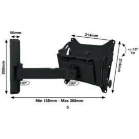 B-Tech BT7534 Medium Flat Screen Wall Mount Single Arm Black