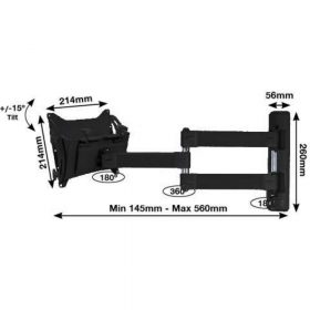 B-Tech BT7535 Flat Screen Wall Mount Double Arm Extension Piano Black BT 7535 BT 7535 1 1