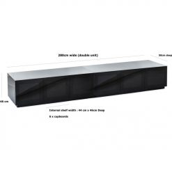 Frank Olsen CHIC280BLK CHIC Gloss Black 280 cm Wide TV Cabinet Modular System