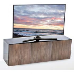Frank Olsen INTEL1500BLK-WAL 1500mm 150cm Black TV Cabinet Walnut Doors