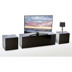 Frank Olsen INTEL1500LED-BLK Black TV Cabinet & 2 INTELLAMP-LED-BLK Lamp Tables
