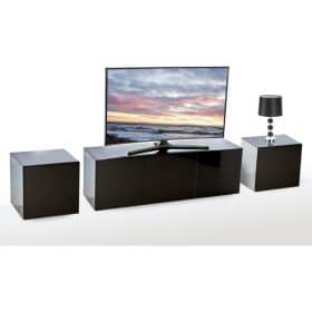 Frank Olsen INTEL1500BLK Black TV Cabinet and 2 INTELLAMP-BLK Lamp Tables