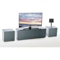 Frank Olsen INTEL1500LED-GRY Grey TV Cabinet and 2 INTELLAMP-LED-GREY Lamp Tables