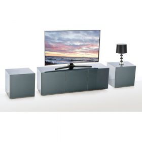 Frank Olsen INTEL1500GRY Grey TV Cabinet and 2 INTELLAMP-GRY Lamp Tables