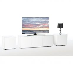 Frank Olsen INTEL1500LED-WHT White TV Cabinet & 2 INTELLAMP-LED-WHT Lamp Tables