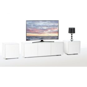 Frank Olsen INTEL1500WHT White TV Cabinet and 2 INTELLAMP-WHT Lamp Tables