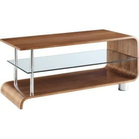 Jual Bali BS203 Coffee Table Walnut Clear Glass