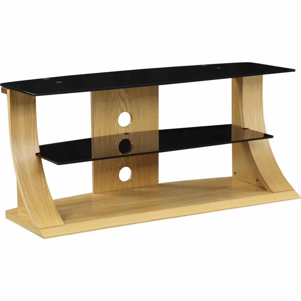 Light Modern Stylish Wooden Veneer Oak Tv Stand Glass