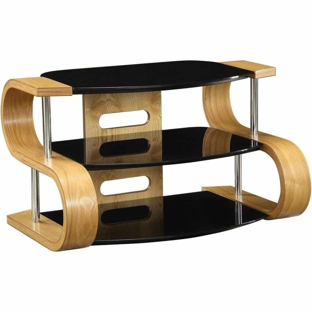 Light Oak Wooden Tv Stand 3 Tier Black Glass Shelves