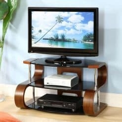 Jual Florence JF203 WB 850 Curve Wood / Wooden LCD TV Stand Walnut