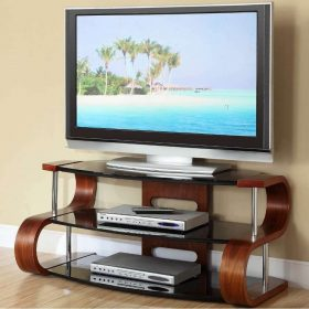 Jual Florence JF203 WB 1100 Curve Walnut TV Stand / Wooden TV Unit