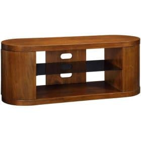 Jual Florence JF207 WB Curve Walnut and Black Glass TV Cabinet