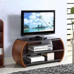 Jual Florence JF208 WB Curve Walnut and Black Glass Curved TV Stand
