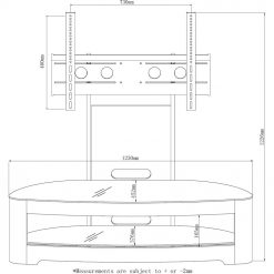 Jual Florence JF209 OB Curve Oak and Black Glass Oval Cantilever TV Stand