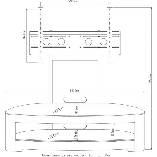 Dimensions Technical Drawing For Jual JF209 Oval Cantilever