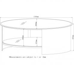 Dimensions Technical Drawing For Jual JF301 Oval Coffee Table