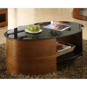 Jual San Marino JF301 WB Curve Walnut and Black Glass Oval Coffee Table