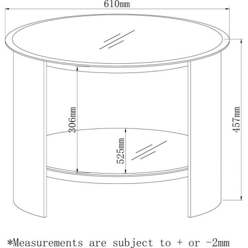 Dimensions Technical Drawing For Jual JF303 Round Lamp Table