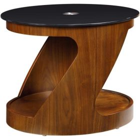 Jual San Marino JF304 WB Walnut Black Glass Oval Lamp Table