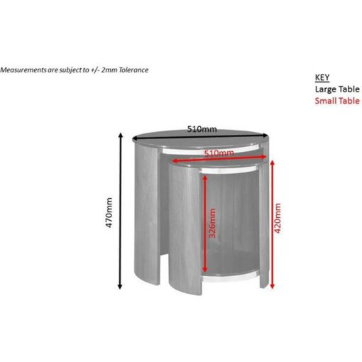 Dimensions Technical Drawing For Jual JF305 Nest Of Tables