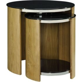 Jual San Marino JF305 Curve Oak and Black Glass Nest Of Tables