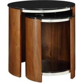 Jual San Marino JF305 Curve Walnut and Black Glass Nest Of Tables