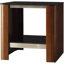 Jual Melbourne JF312 Lamp Table Walnut Chrome Trim Black Glass