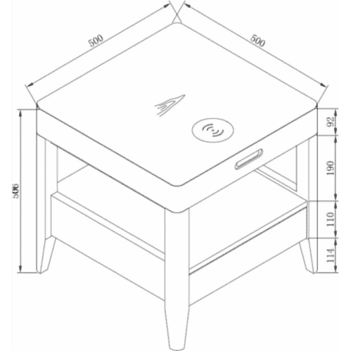 Dimensions Technical Drawing For Jual JF402 San Francisco Bedside Lamp Table White Ash Ash
