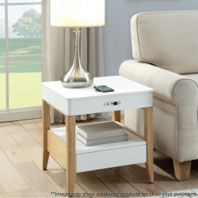 Lifestyle Home Setting Images For Jual JF402 San Francisco Bedside Lamp Table White Ash Ash