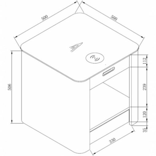 Dimensions Technical Drawing For Jual JF403 San Francisco Bedside Lamp Table White Ash Ash