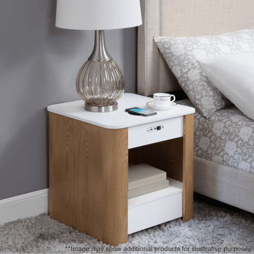 Lifestyle Home Setting Images For Jual JF403 San Francisco Bedside Lamp Table White Ash Ash