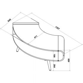 Dimensions Technical Drawing For Jual JF701 Large Corner TV Stand