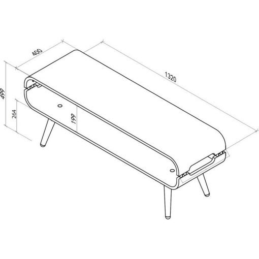 Dimensions Technical Drawing For Jual JF702 Rectangular TV Stand