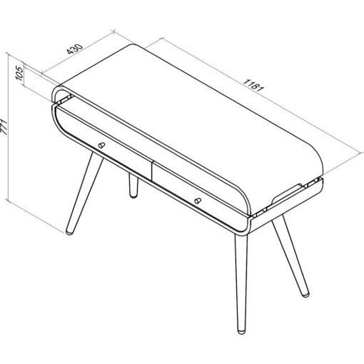 Dimensions Technical Drawing For Jual JF705 Console Table