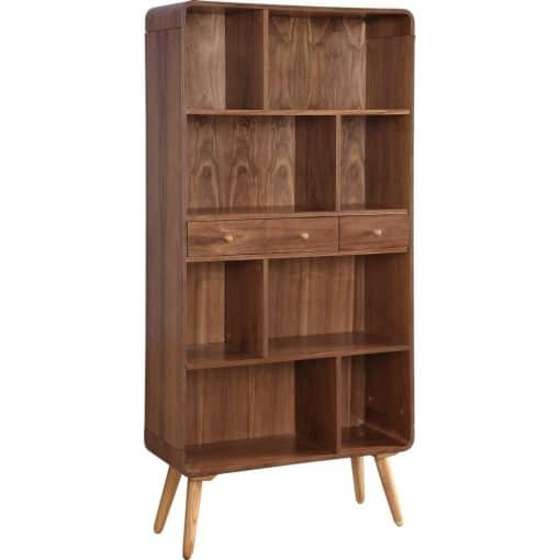 Jual JF707 Walnut Wide Bookcase White Background 2