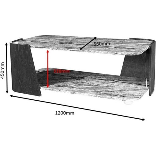 Dimensions Technical Drawing For Jual JF907 Sorrento Coffee Table High Gloss Grey Slate Marble Effect