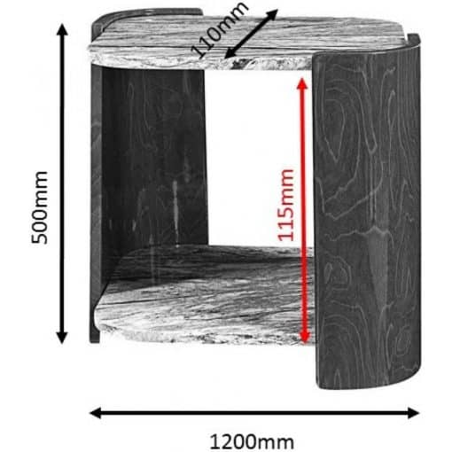 Dimensions Technical Drawing For Jual JF908 Sorrento Lamp Table High Gloss Grey Slate Marble Effect