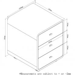 Dimensions Technical Drawing For Jual PC201 3 Drawer