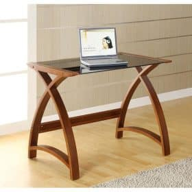 Jual Helsinki PC201 WB 900 Curve Office Walnut and Black Glass Table
