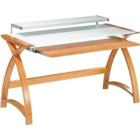 Jual Helsinki PC201 DESK OW 1300 Curved Oak Wooden and Glass PC Desk