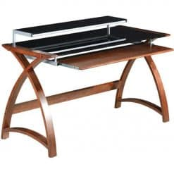 Jual PC201 Wb 1300 Large Wood Wooden And Glass PC Desk Walnut 4