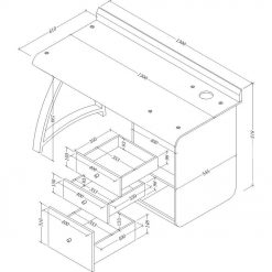 Dimensions Technical Drawing For Jual PC601 3 Drawer Pedestal Desk